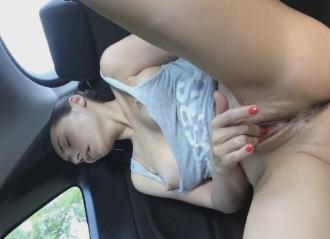Horny Brunette Masturbating In Her Parked Car